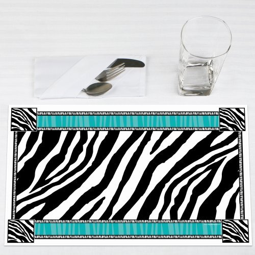 Zebra Teal Party Placemats Set of 12 by Big Dot of Happiness, LLC