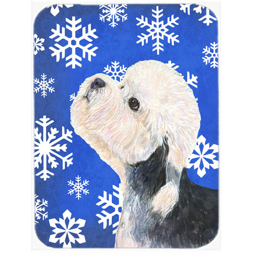Dandie Dinmont Terrier Red Snowflakes Christmas Glass Cutting Board Large