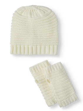 Eliza May Rose by Hat Attack Women's Line Textured Knit Winter Beanie and Handwarmers Gift Set