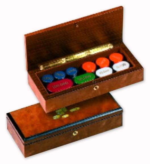 Italian Casino Poker Chips Set in High-Gloss Inlaid Wood Case