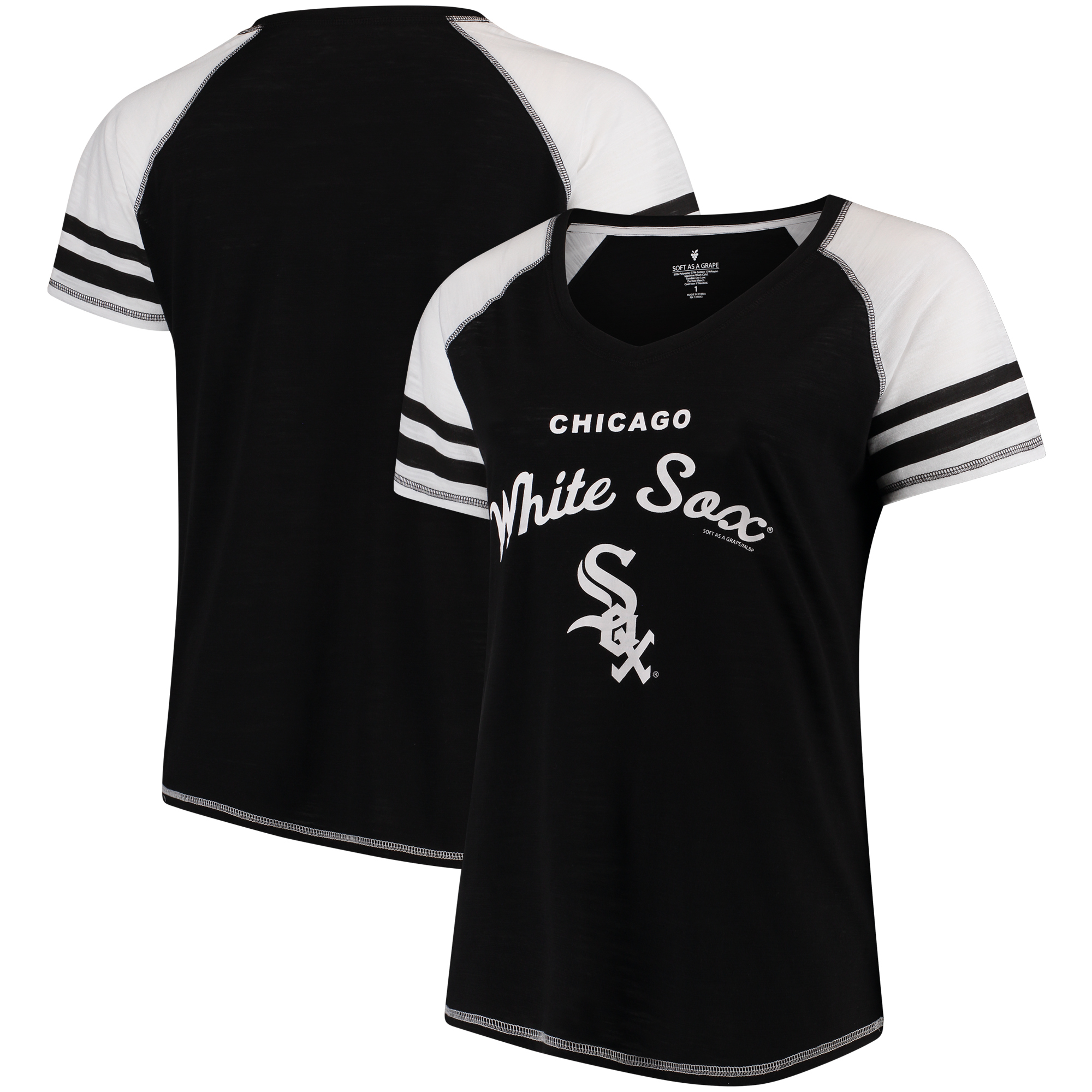 Chicago White Sox Soft as a Grape Women's Plus Sizes Three Out Color Blocked Raglan Sleeve T-Shirt - Black