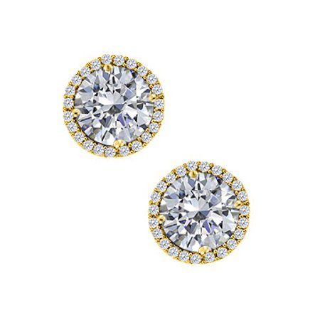 April Birthstone Cubic Zirconia Round Earrings in 14K Yellow Gold - image 1 de 2
