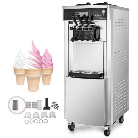 BestEquip 2200W Commercial Soft Ice Cream Machine 3 Flavors 5.3-7.4Gallons/H Auto Clean LED Panel Perfect for Restaurants Snack Bar supermarkets (Soft Ice Machine)