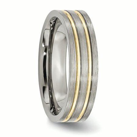 Titanium Grooved Yellow Plated 6mm Brushed Wedding Ring Band Size 12.50 Fashion Jewelry For Women Gifts For Her - image 5 de 10