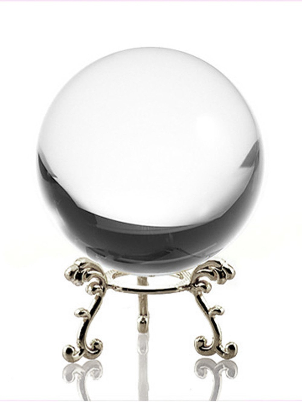 Clear quartz crystal ball 40mm witch stand Sale due to under feet stand