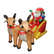 7' Inflatable Lighted Santa Claus and Sleigh Christmas Outdoor Decor