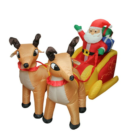 4' Inflatable Lighted Santa Claus and Sleigh Christmas Outdoor Decoration