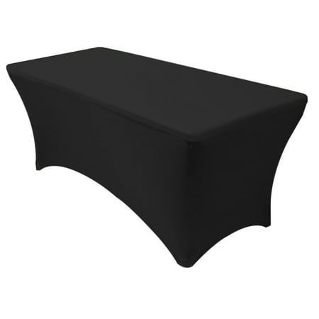 Your Chair Covers - Stretch Spandex 6 ft Rectangular Table Cover Black - Table Cover