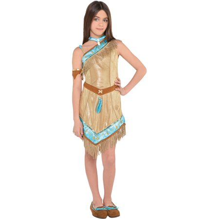 Pocahontas Costume for Girls, Size Small, Includes a Dress, a Cape, and More
