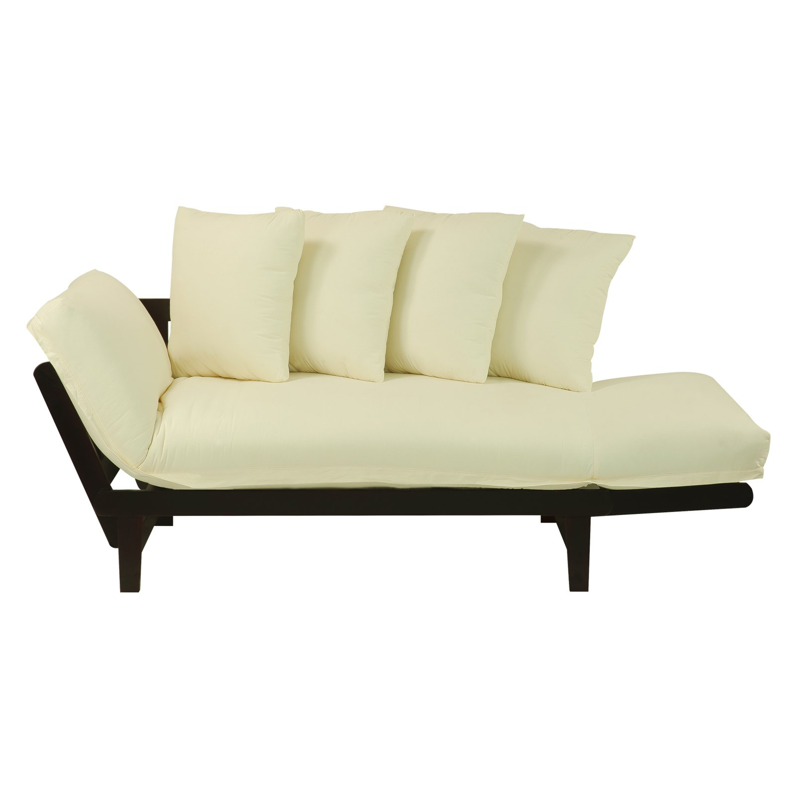 Lounger Espresso Convertible Sleeper Futon Sofa Bed Multi Position Couch Ivory