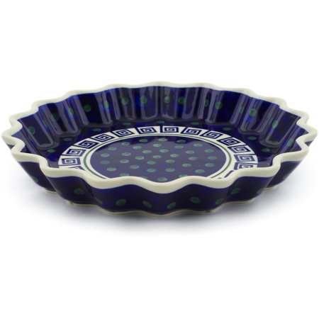 Polish Pottery 10½-inch Fluted Pie Dish (Greek Key Theme) Hand Painted in Boleslawiec, Poland + Certificate of Authenticity