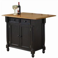 Sunset Trading Antique Black Kitchen Island with Cherry Drop Leaf Top