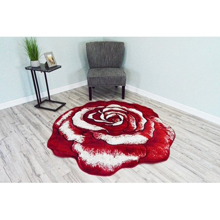 TWIST Free Shape 3D Hand Carved ROSE Flower 5 Foot Round 3373 - Flower Shape