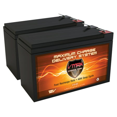QTY 2 VMAXTANKS V10-63 12 Volt 10AH AGM Deep Cycle Fenton Technologies POWERON H010K Replacement Battery 12V