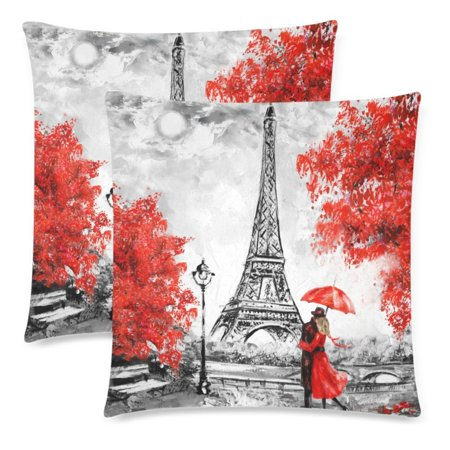 YKCG Oil Painting Paris Eiffel Tower Throw Pillowcase Pillow Case 18x18 Twin Sides for Couch Bed, European City France Landscape Zippered Cushion Pillow Cover Shams Decorative, Set of 2