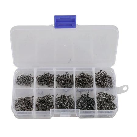 500pcs 10 Different Sizes Circle Fishing Hooks Carbon Steel Fishhook w/Box