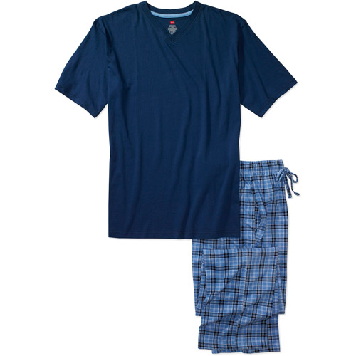 Hanes - Big Men's V-Neck Tee and Plaid Sleep Pants