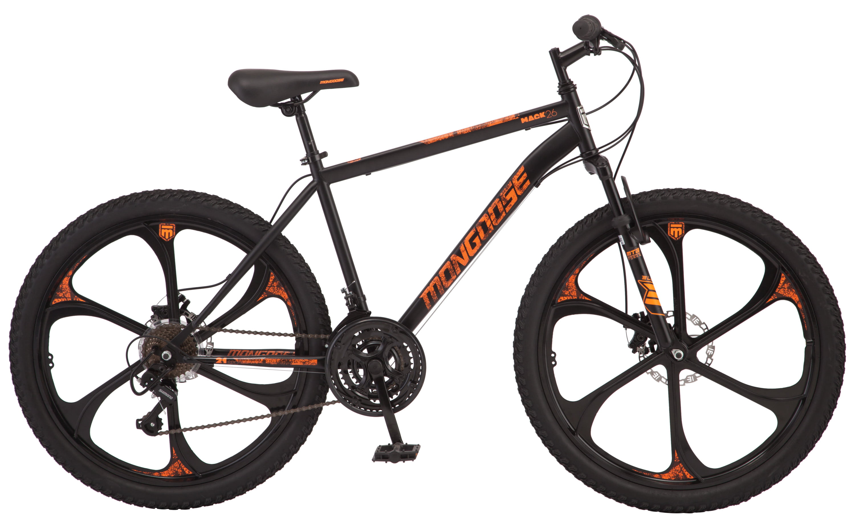 Mongoose Mack Mag Wheel Mountain Bike, 26-inch wheels, 21 speeds, men's frame, black