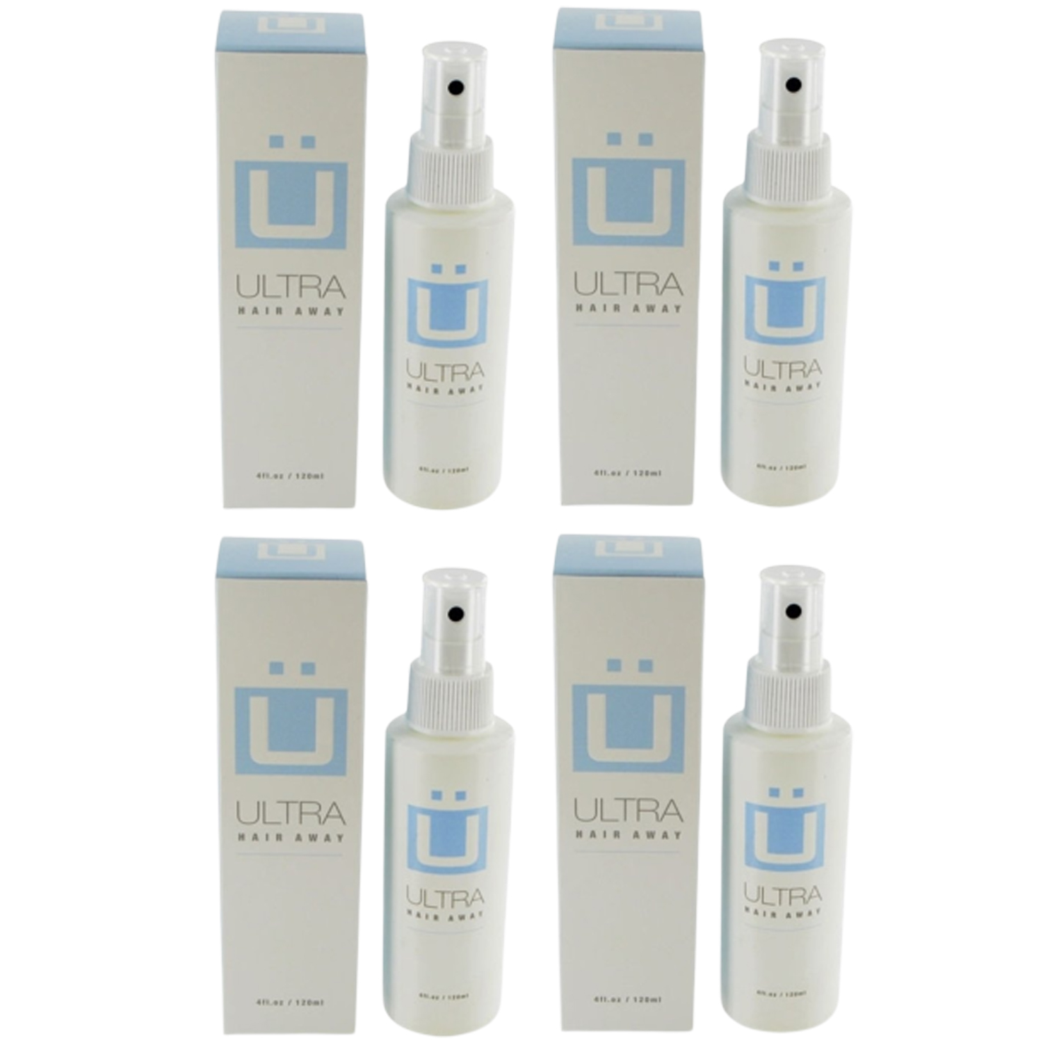 Ultra Hair Away 4 Bottles Hair Growth Inhibitor Permanent Hair