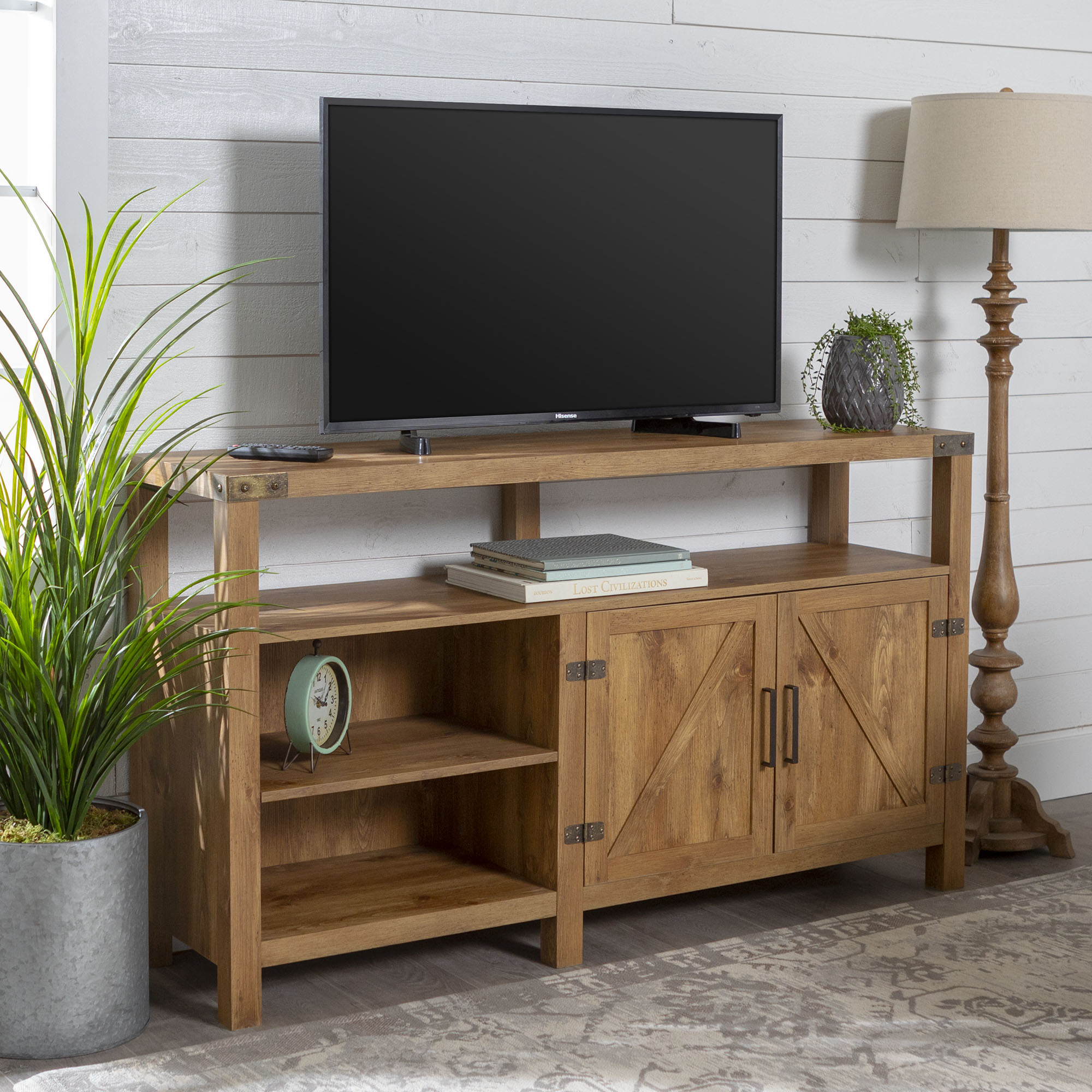 "58"" Modern Farmhouse Barn Door Highboy TV Stand - Barnwood"