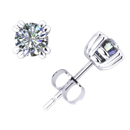 0.40Ct Round Cut Diamond Basket Stud Earrings 14k White Gold Double Prong F -