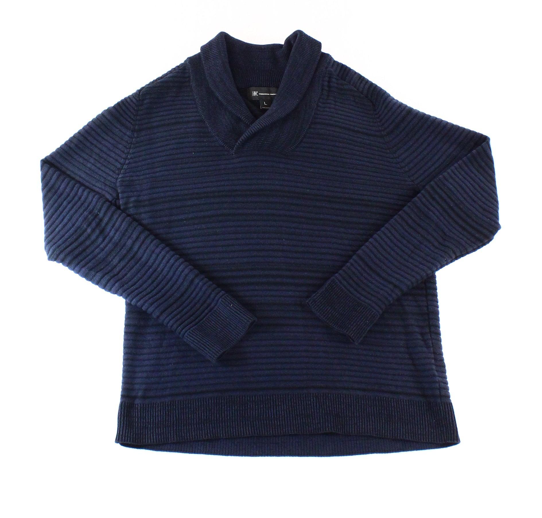 INC NEW Blue Mens Size XL V-Neck Stripe Texture Shawl Collar Sweater