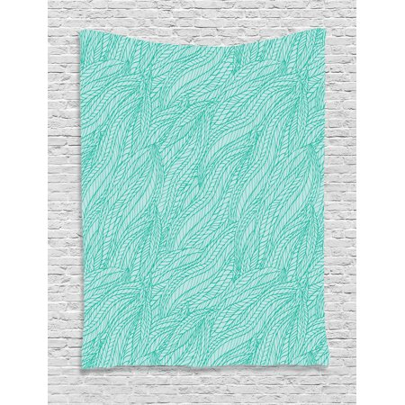 Teal Decor Wall Hanging Tapestry, Abstract Leaves Plants Wavy Tangle Pattern Doodle Style Monochromic Art, Bedroom Living Room Dorm Accessories, Gift Ideas, By
