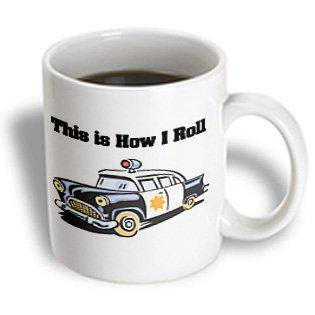 3dRose This Is How I Roll Police Cop Car, Ceramic Mug, 11-ounce