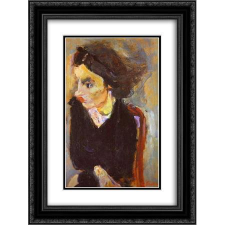 Chaim Soutine 2x Matted 18x24 Black Ornate Framed Art Print 'Woman in Profile (Portrait of Madame