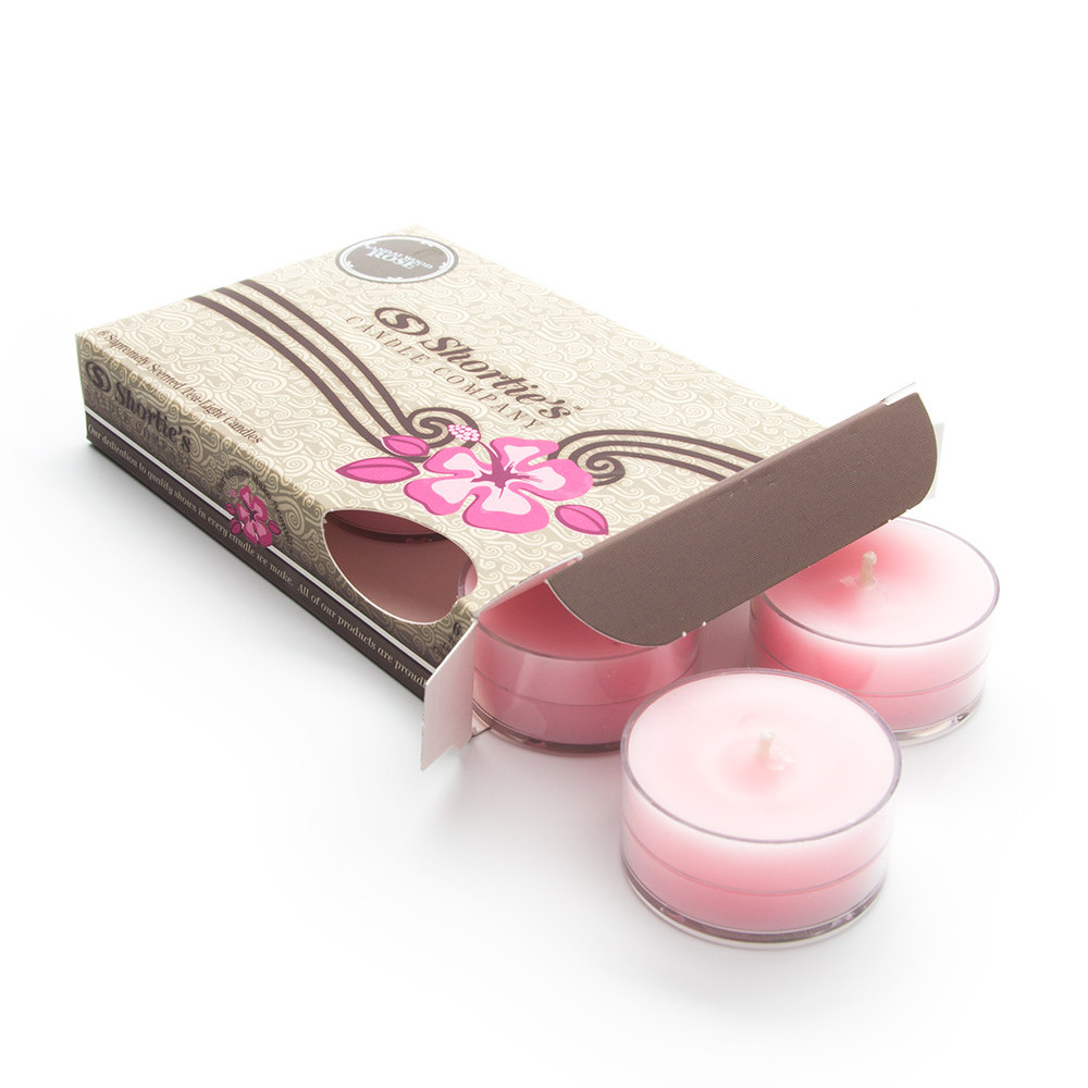 Sandalwood Rose Pink Tea Light Candles 6 Pack - Highly Scented, Hand Poured, & Clean Burning - Clear Container for Beautiful Candlelight - Earth Tealights Collection