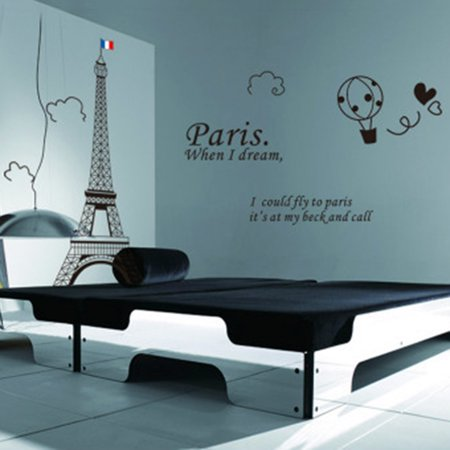 Home Decor amovible Designable PVC Noir DIY Sticker mural Motif Tour Eiffel Blanc 60 x 90 cm - image 1 de 8