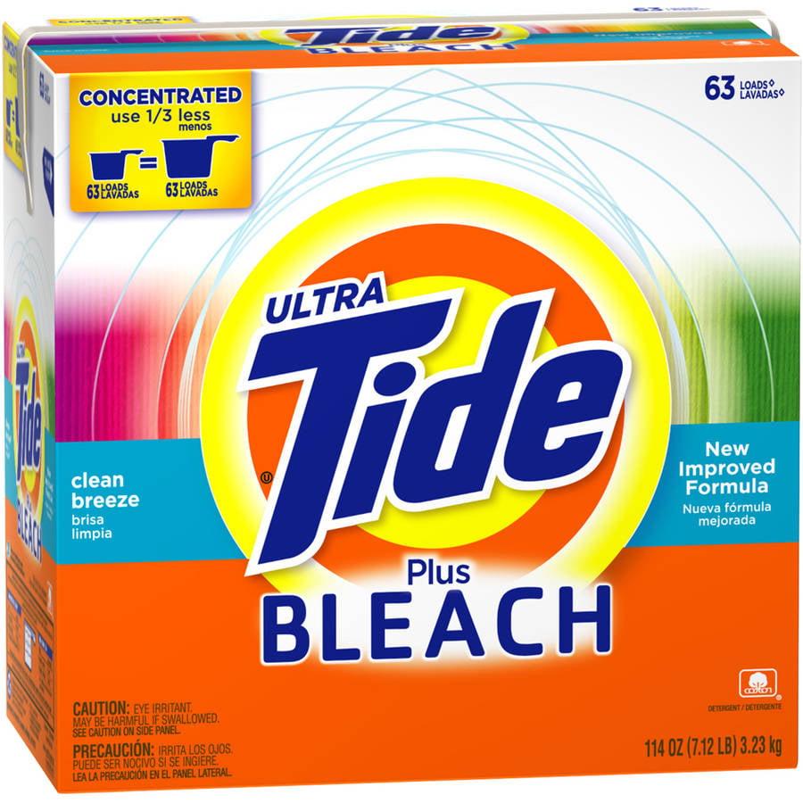 Tide Ultra Plus Bleach Alternative Clean Breeze Scent Powder Laundry Detergent, 63 Loads, 114 oz