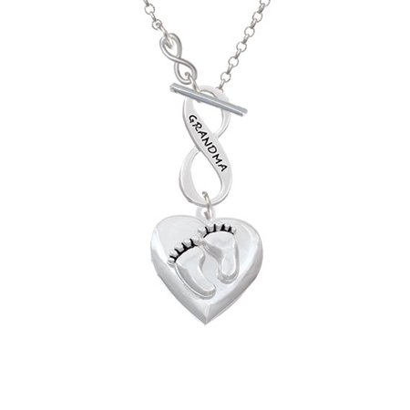 Baby Shoes Heart Necklace - Baby Feet Heart Locket - To Infinity Grandma Toggle Necklace