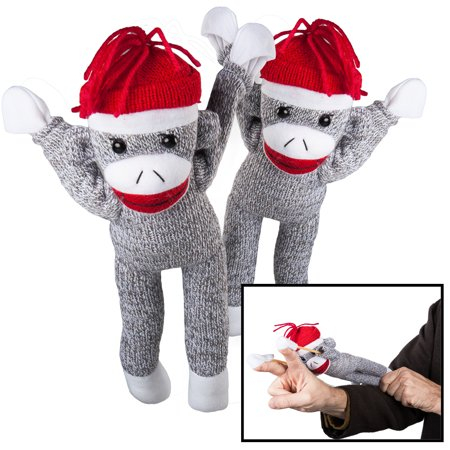 Nostalgic Images 2 Pack Super Fly Sock Monkey Screaming Flying Stuffed Animal Toy For Kids Children - Toys That Fly