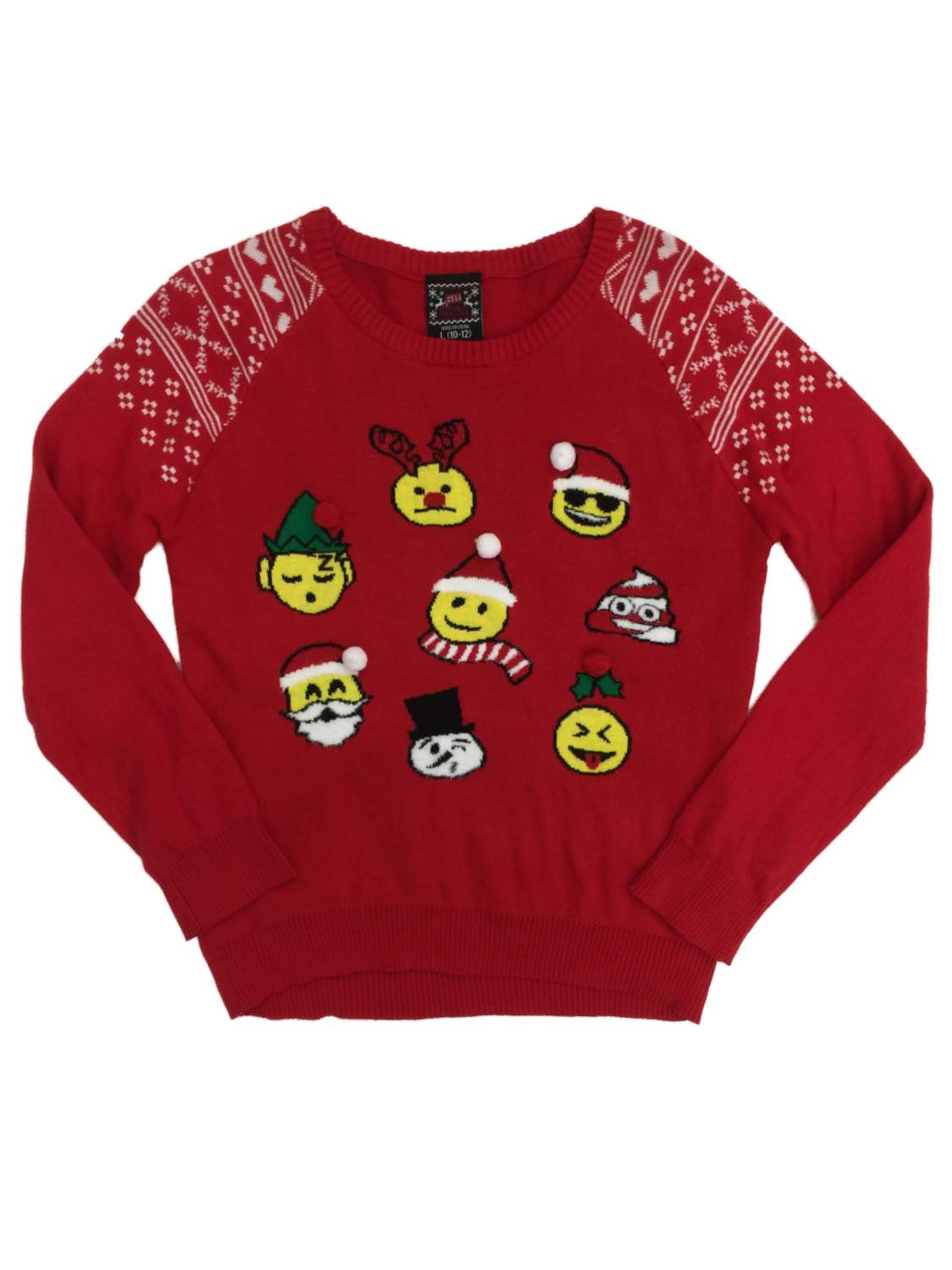 Girls Red Emoji Christmas Holiday Sweater Santa Snowman Reindeer & Poop