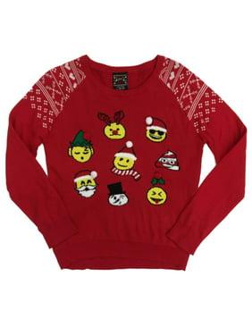 d7cc400e1 Product Image Girls Red Emoji Christmas Holiday Sweater Santa Snowman  Reindeer & Poop