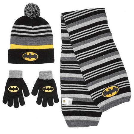 DC Comics Boys Stripe Batman Cuffed Beanie with Scarf & Gloves Set One Size](Batman Gloves)