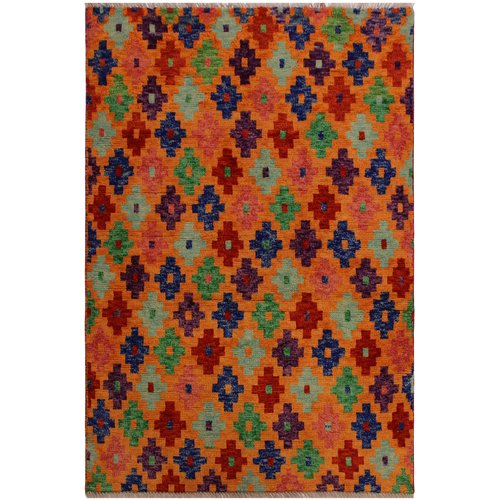 Isabelline One-of-a-Kind Laudalino  Hand-Knotted 3'4'' x 4'10'' Wool Orange/Red/Purple Area Rug