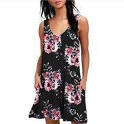 Women's Summer Sleeveless Casual Swing Simple T-Shirt Loose Dresses