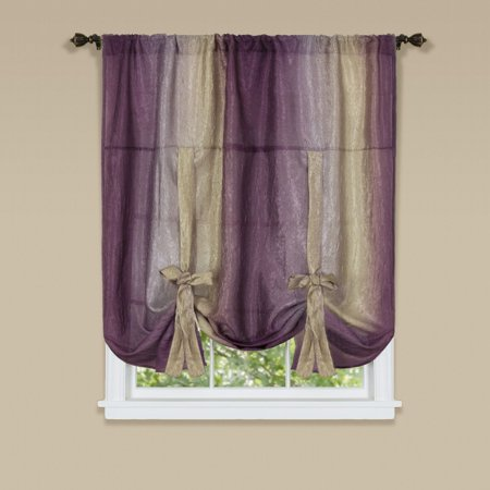 Traditional Elegance Ombre Window Curtain Tie Up Shade 50x63 - Aubergine