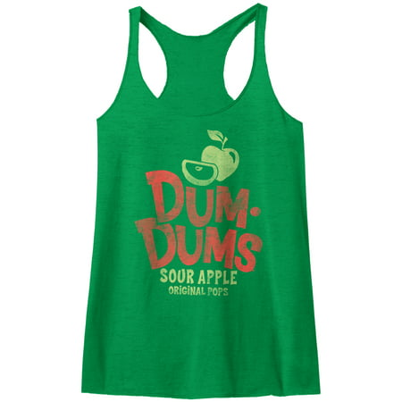 Dum Dums Sugar Candy Lollipop Sour Apple Original Pops Womens Racerback Tank Top