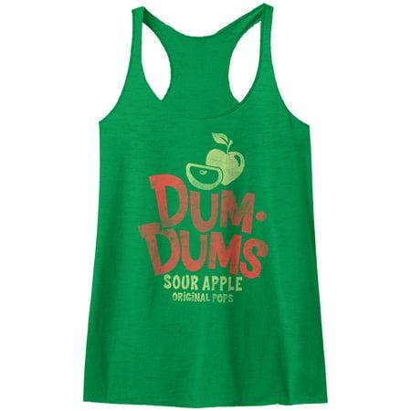 Dum Dums Sugar Candy Lollipop Sour Apple Original Pops Womens Racerback Tank Top - image 1 de 1