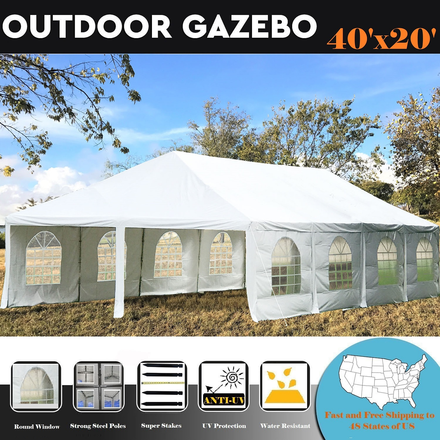 40'x20' PE Frame Tent Wedding Party Canopy Shelter White By DELTA Canopies by WPIC