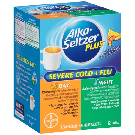 Image of Alka-Seltzer Plus Day/Night Severe Cold, Cough Mucus & Congestion Relief Packets, 12 ct