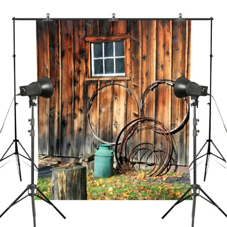 GreenDecor Polyester Fabric 5x7ft Rustic Farm Wooden House Photography Backdrops Autumn Countryside Landscape Barn Wood Portrait Photo Backdrops Custom Studio - Custom Photo Props