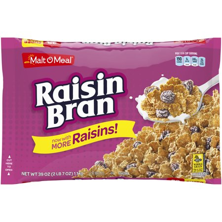 (2 Pack) Malt-O-Meal Breakfast Cereal, Raisin Bran, 39 Oz, Bag (Crunchy Corn Bran)