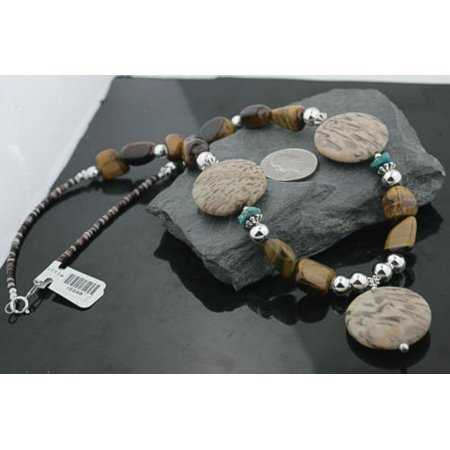 Certified Authentic Navajo .925 Sterling Silver Natural Tigers Eye Jasper Turquoise Native American Necklace