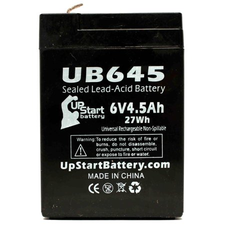 Vector 750 Battery Replacement - UB645 Universal Sealed Lead Acid Battery (6V, 4.5Ah, 4500mAh, F1 Terminal, AGM, SLA) - Includes TWO F1 to F2 Terminal Adapters - image 4 de 4