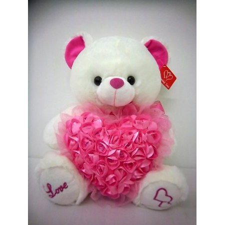 Musical Teddy Bear with Pink Roses Heart (14