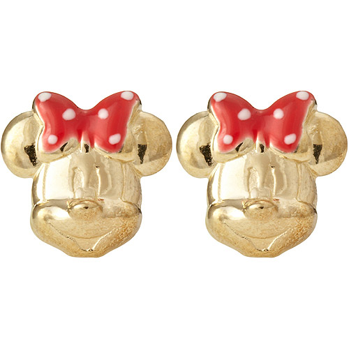 Disney 10kt Gold Minnie Mouse with Red Enamel Bow Stud Earrings